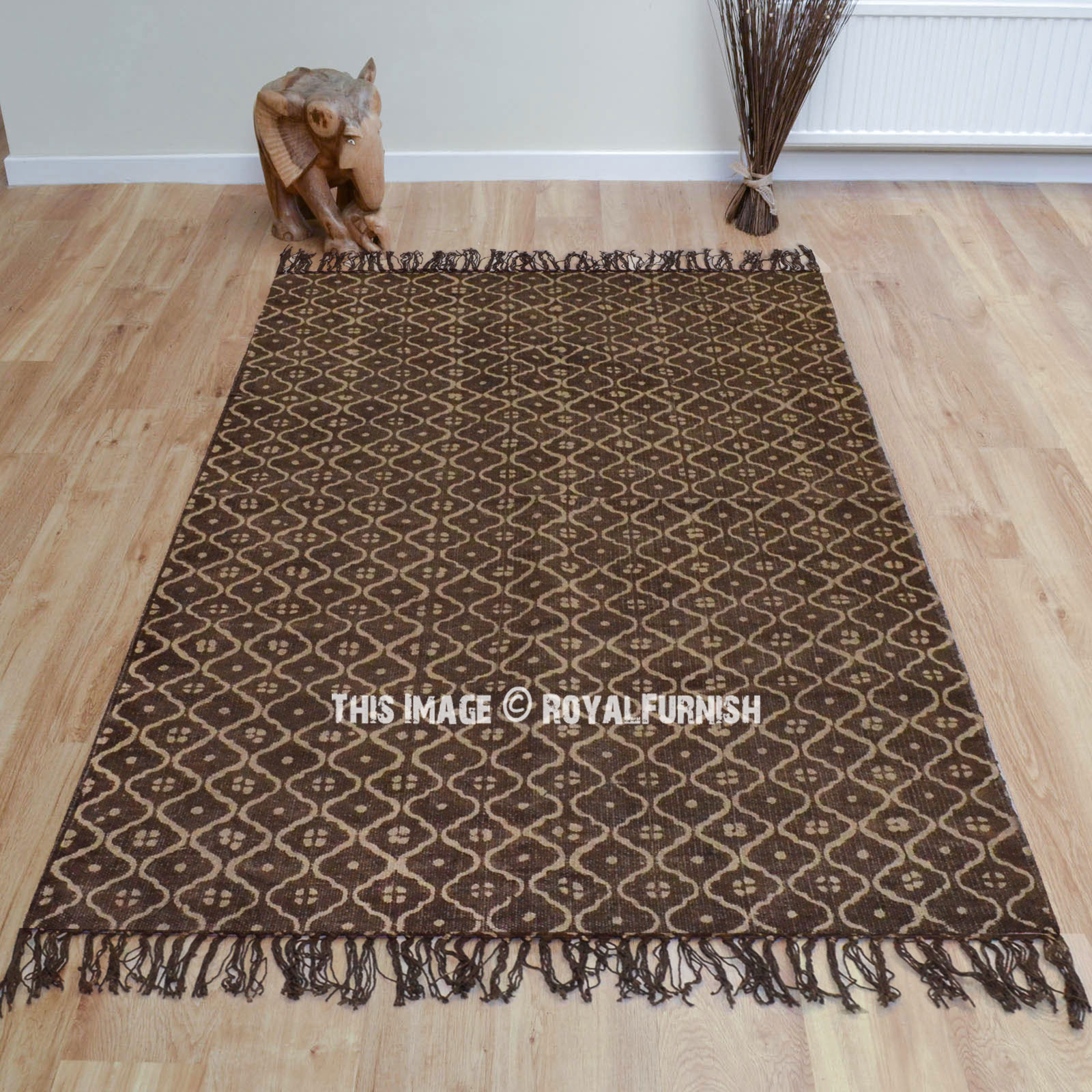 Brown Bohemian Geometric Pattern Cotton Rug 3 X5
