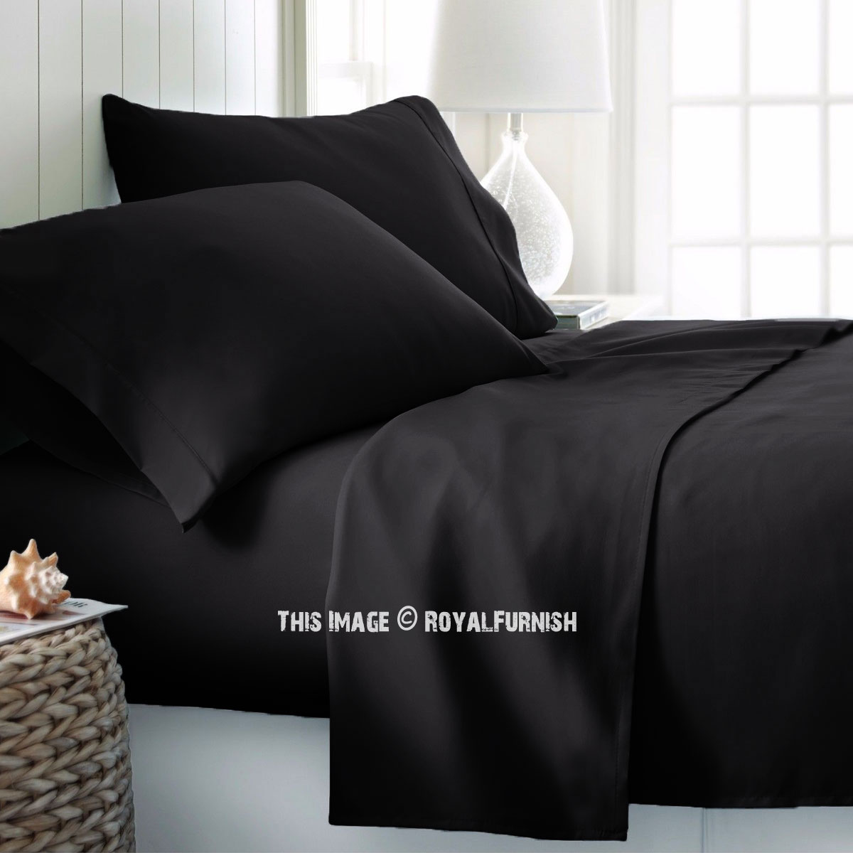 Black 4pc Cotton Bed Sheet Set 1 Flat Sheet 1 Fitted Sheet And 2 Pillowcases 300 Tc Royalfurnish Com