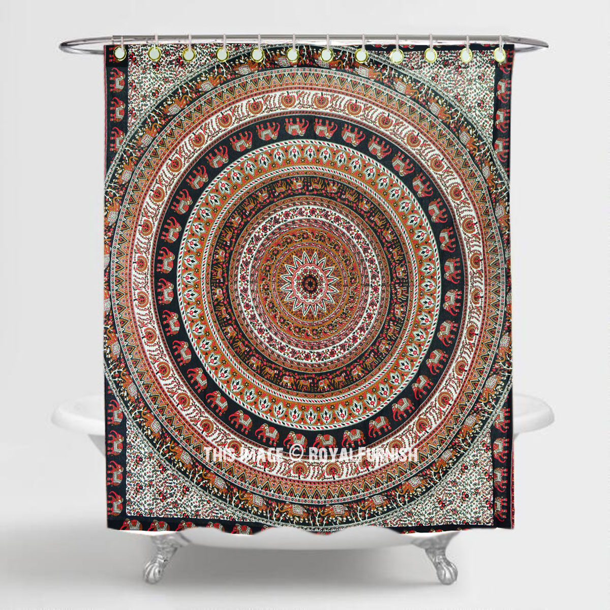 Red Brown Menagerie Bohemian Animal Medallion Print Cotton Shower Curtain