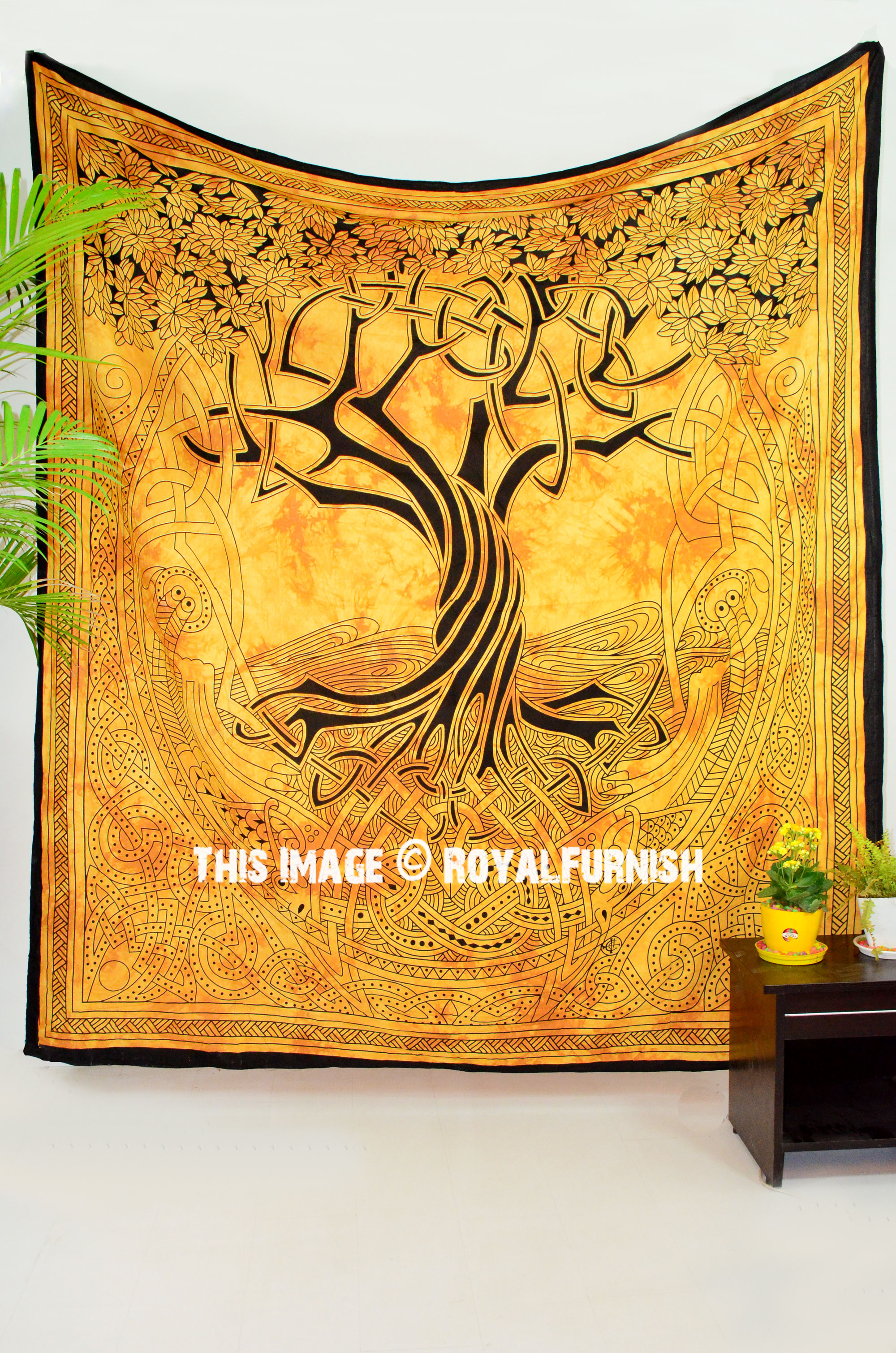 Yellow Celestial Tree Of Life Tapestry Wall Hanging Royalfurnish Com