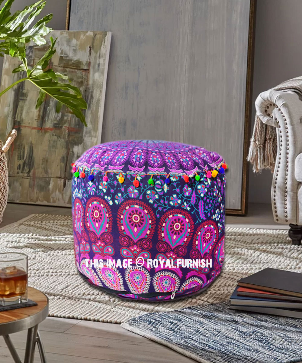 Marvelous Pink Purple Bohemian Round Mandala Pouf Ottoman Cover 22 X 14Inch Uwap Interior Chair Design Uwaporg