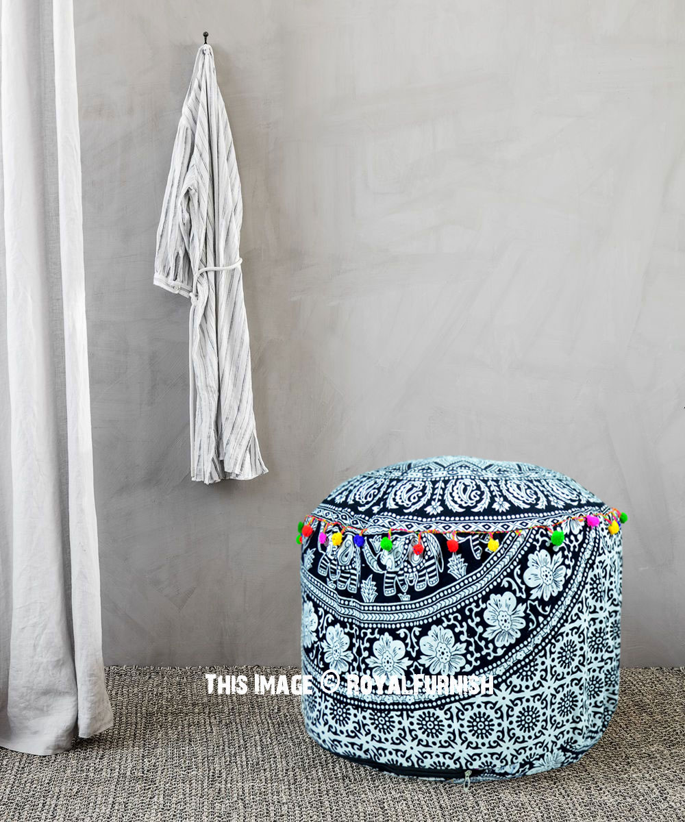 Strange Black And White Elephant Ring Mandala Pouf Ottoman Cover 22X14 Inch Pdpeps Interior Chair Design Pdpepsorg