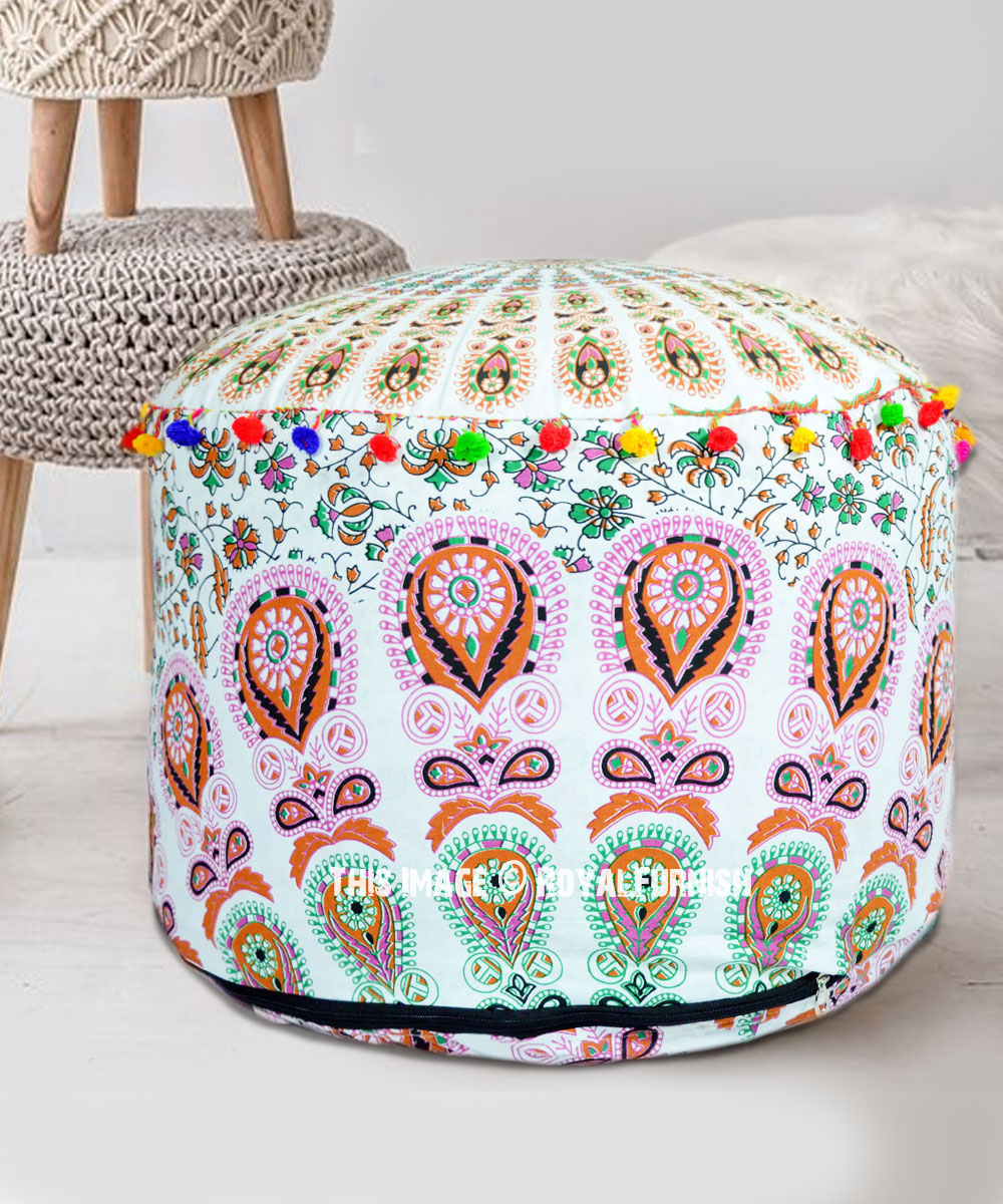 Admirable White Brown Round Mandala Pouf Ottoman Cover 22X14 Inch Bralicious Painted Fabric Chair Ideas Braliciousco