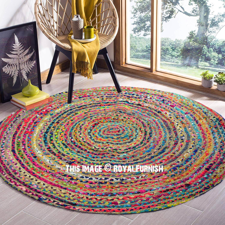 4 ft Bohemian Round Natural Jute Chindi Area Rug