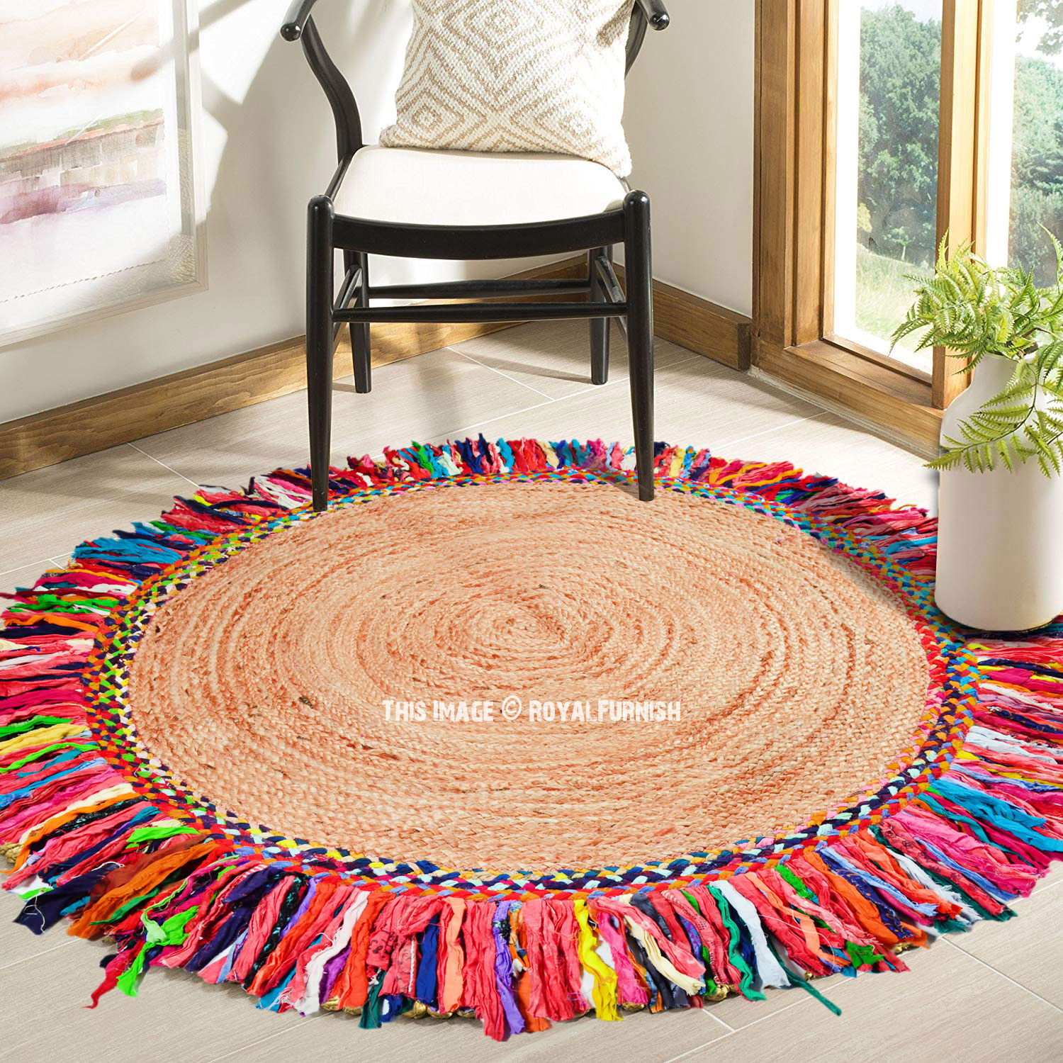 Astonishing Sisal Jute Braided 4 Ft Round Colorful Fringed Indoor Area Rug Alphanode Cool Chair Designs And Ideas Alphanodeonline