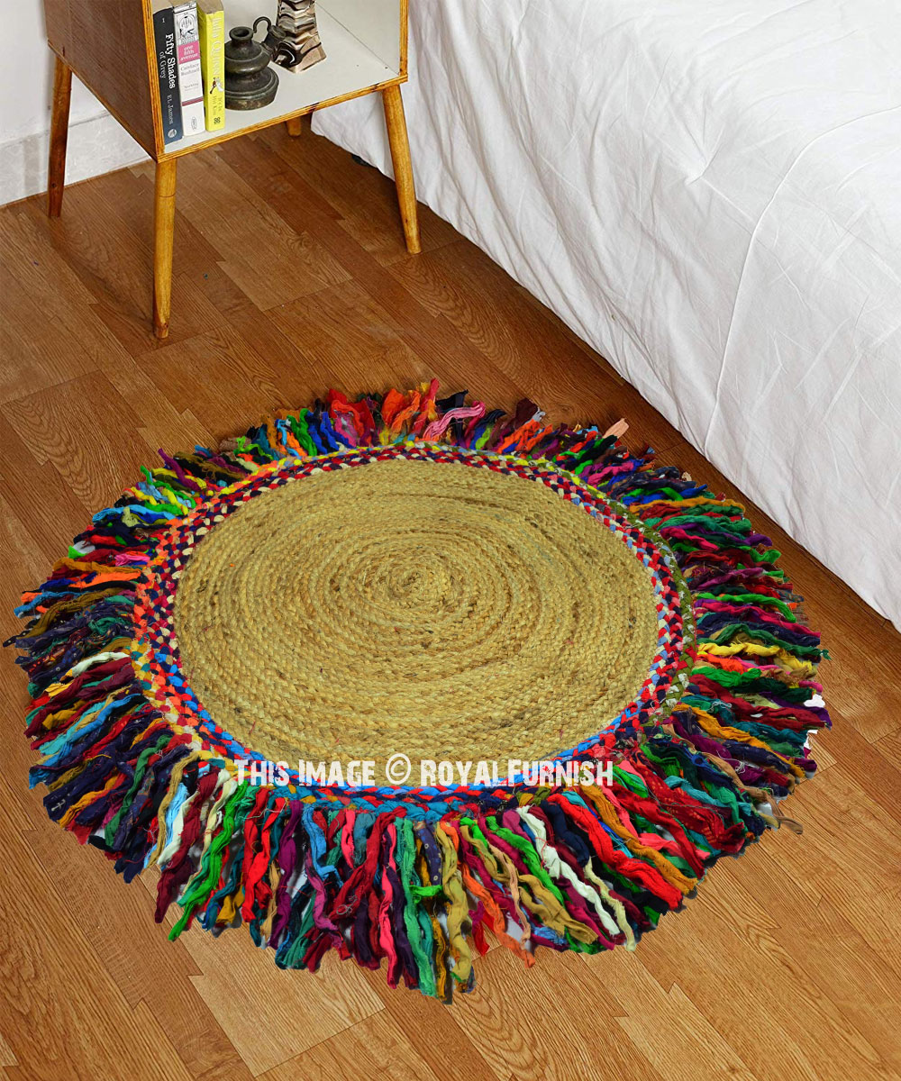 Marvelous 3 Ft Round Sisal Jute Colorful Fringed Area Rug Alphanode Cool Chair Designs And Ideas Alphanodeonline