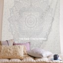Silver Color Geometric Flower Ombre Mandala Wall Tapestry