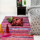 Pink Multi Colorful Design Hand Woven Jaipur Chindi Rag Rug