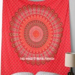 Red Indian Mandala Hippie Boho Dorm Decor Tapestry Wall Hanging Bedcover