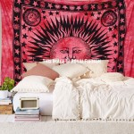 Maroon Bright Sun Moon Hippie Tie Dye Tapestry Wall Hanging
