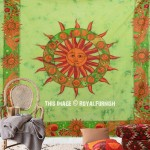 Green Sun Moon Astrology Cotton Tapestry Wall Hanging Bedspread