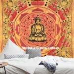 Brown Buddha Cotton Screen Printed Tapestry & Wall Hanging