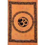 Twin Size Orange Hindu Auspicious OM Tapestry & Wall Hanging