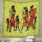 Queen Size Green Tribal Life Theme African Wall Tapestry