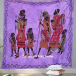 Indian Bohemian Tribal Life Indian Purple Wall Hanging & Coverlet