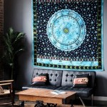 Queen Hindu Astrology Zodiac Horoscope Cotton Tapestry Wall Hanging Bed Cover