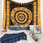 Yellow Multi Unique Zodiac Horoscope Printed Sun Moon Fringed Tapestry
