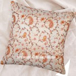 White India Hand Embroidered Floral Silk Toss Pillow Cover