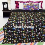 Black Tree Leaves Printed Unique Cotton Kantha Quilt Bedspread 90X108