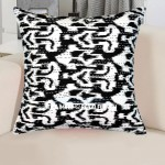 Black Decorative Zig Zig Ikat Throw Pillow Cover, Designer Kantha Cushion
