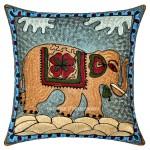 "16"" Cotton Multicolored Decorative Embroidered Elephant Throw Pillow Cover"