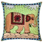 "16"" Cotton Decorative Embroidered Elephant Throw Pillow Cover"