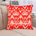 "16"" Red Indian Ikat Kantha Thread Cotton Cushion Pillow Throw Cover India Ethnic Decorative Art"