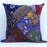 Purple Handmade Beaded Patchwork Toss Pillow