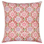 White Floral India Hand Block Cotton Decorative Throw Pillow