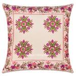 White Floral India Hand Block Cotton Decorative Throw Pillow