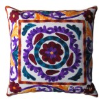 Indian Handmade Designer Cushion Cover Suzani Embroidered Handwork Pillow Cover