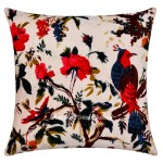 "16""x16"" White Birds Print Velvet Decorative Throw Floral Pillow Case"
