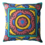 16x16 Decorative Suzani Embroidered Throw Accent Floral Pillow Cover
