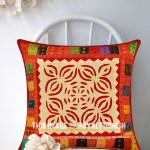 Handmade Decorative Cutwork & Patchwork Appliqued Floral Throw Pillow