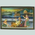 Mughal King Love Scene Rajasthani Miniature Painting on Silk Fabric