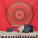 Red Floral Indian Mandala Dorm Decor Tapestry Wall Hanging Art