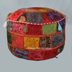 Handmade Multi Patchwork Embroidered Appliqued Indian Gypsy Ottoman Pouf
