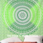 Green Multi Ombre Wall Tapestry, Indian Mandala Bedding Sheet