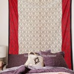 Red and White Urn Design Cotton Wall Tapestry Bedding Bedspread