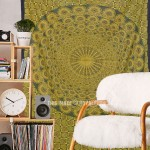 Twin Yellow Peacock Wings Wall Tapestry, Hippie Bedding