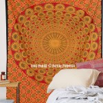 Small Red Peacock Wings Mandala Wall Tapestry, Bohemian Bedding