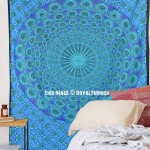 Blue Peacock Feathers Mandala Tapestry, Hippie Bohemian Bedding