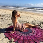 Purple Pink Plum & Bow Mandala Round Beach Towel, Roundie Throw