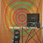 Green & Red Ombre Net Circle Mandala Tapestry, Hippie Bedding