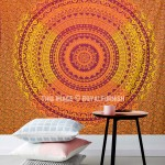 Orange Multi Ombre Mandala Net Circle Cotton Tapestry Wall Hanging