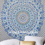 White & Blue Ghoomar Medallion Mandala Tapestry Wall Hanging