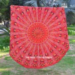 Vibrant Red Ghoomar Art Roundie Beach Throw