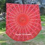 Vibrant Red Ghoomar Art Roundie Beach Throw