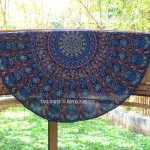 Blue Rajasthan Ghoomar Cotton Mandala Round Beach Throw