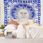 Big Blue Multi Sun Moon & Planets Fringed Tapestry Wall Hanging Bedspread